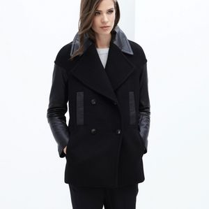 Danier Leather Camilla Wool & Leather Peacoat